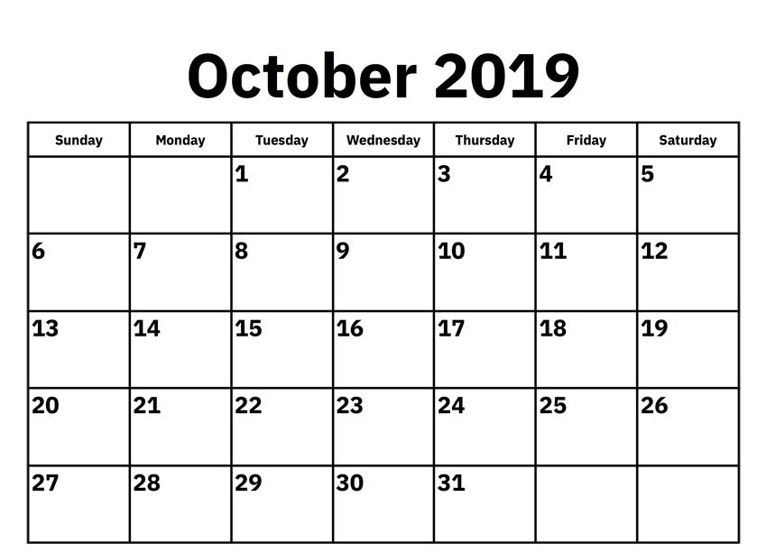 Blank October 2019 Calendar US