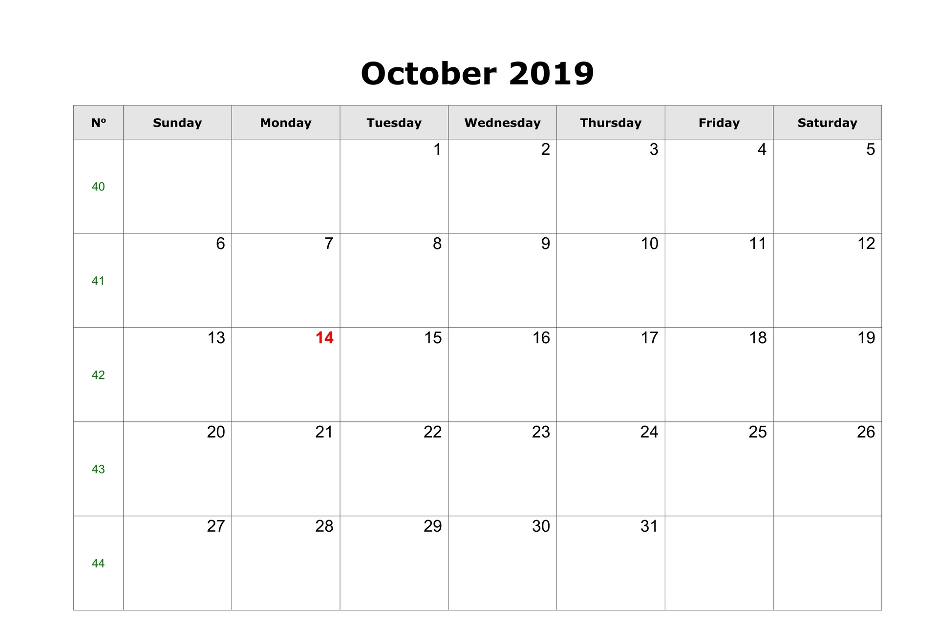 Blank October Calendar 2019 Vertical