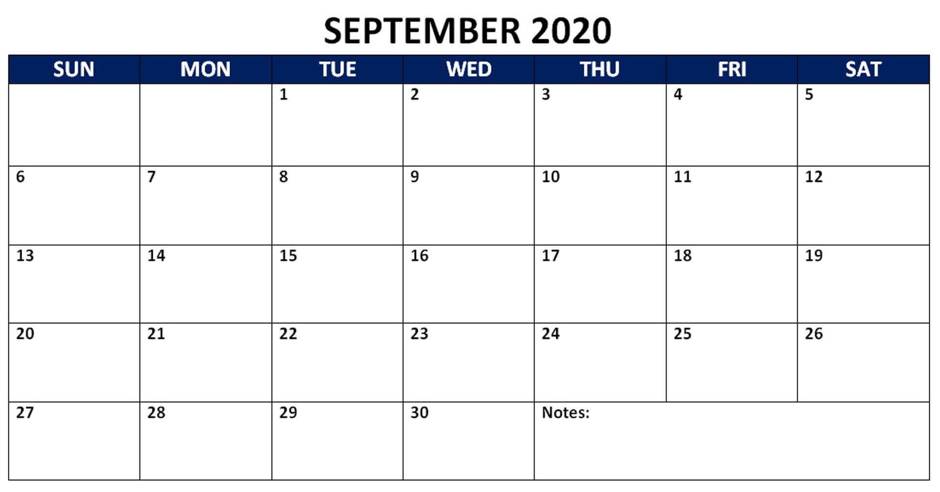 Blank September 2020 Editable Calendar