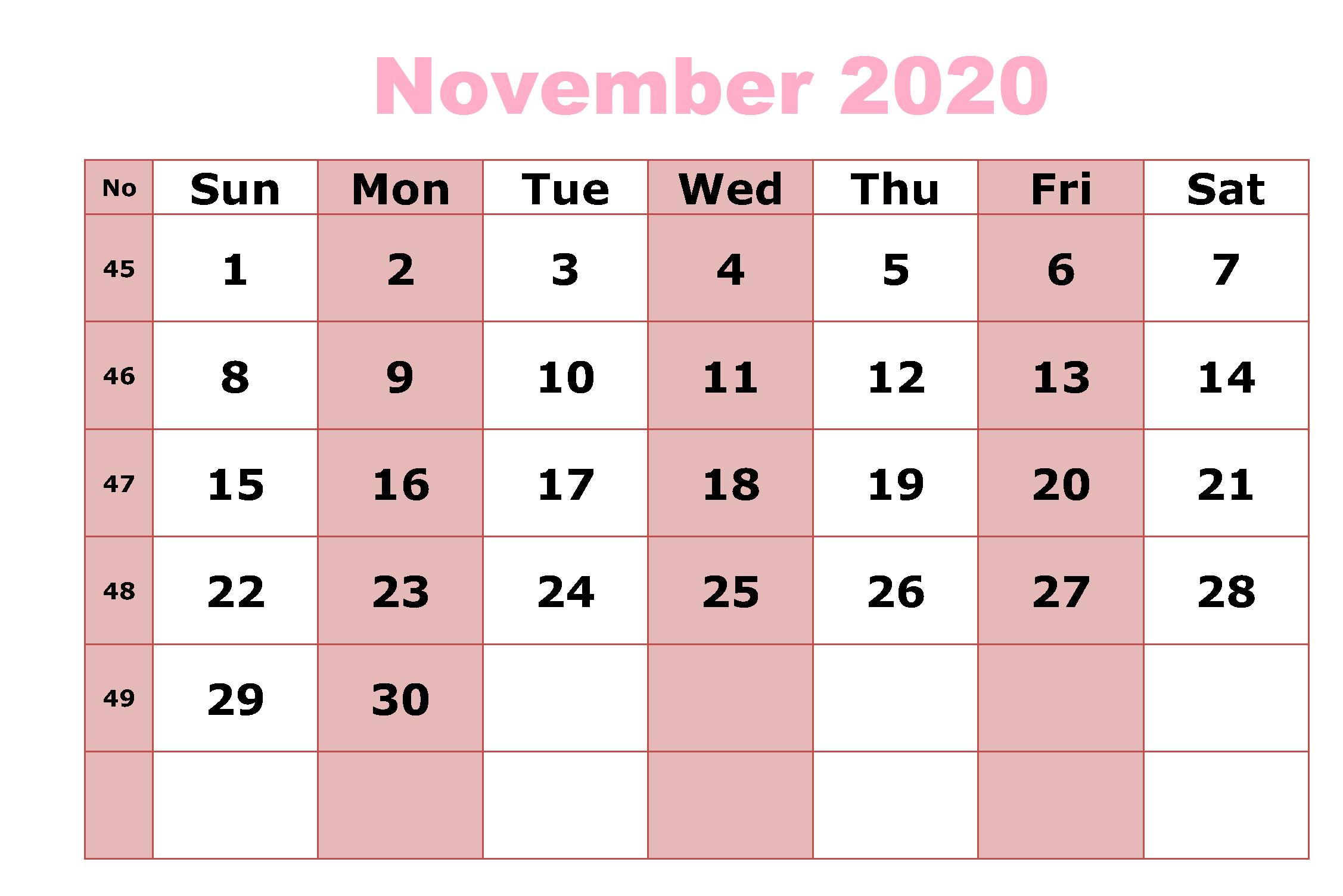 Calendar For November 2020 PDF