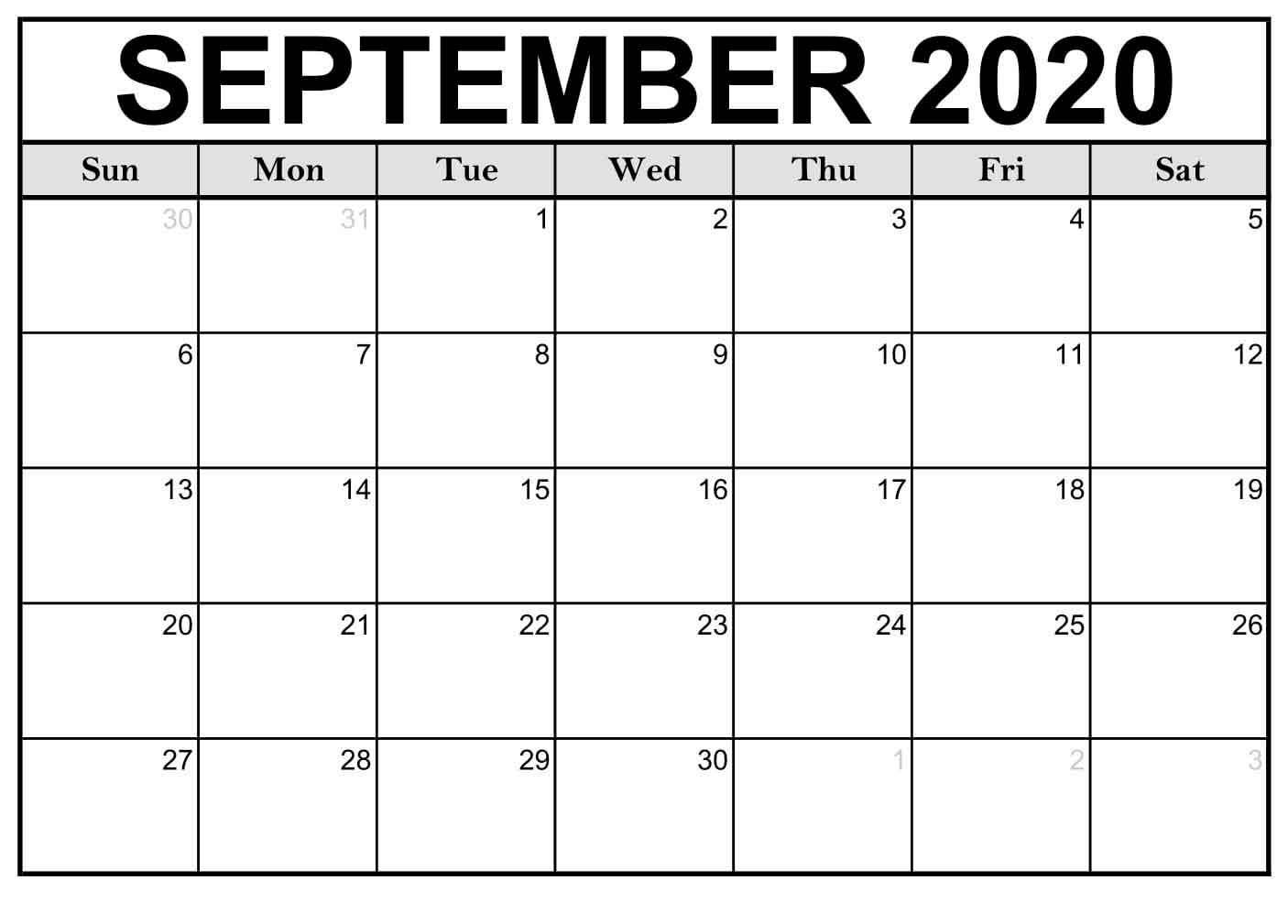 Calendar Month September 2020