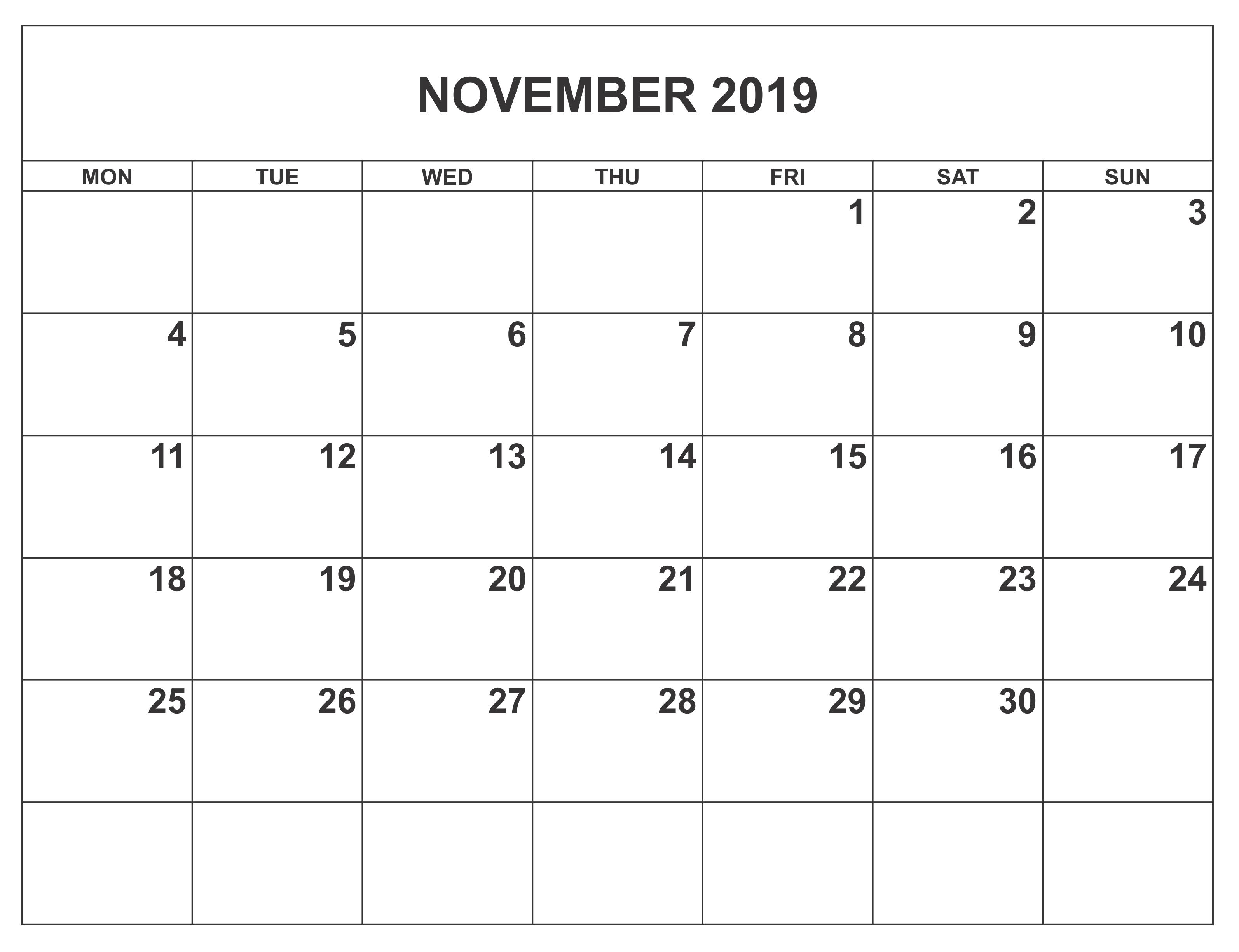 Calendar November 2019 Printable Template
