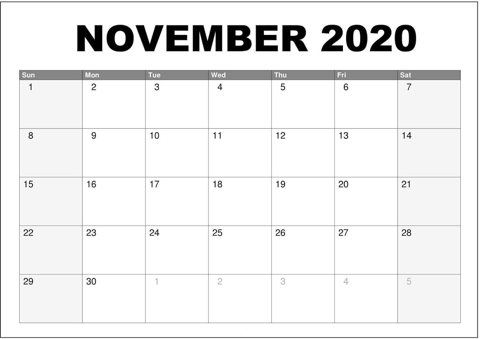 Calendar November 2020 Printable PDF