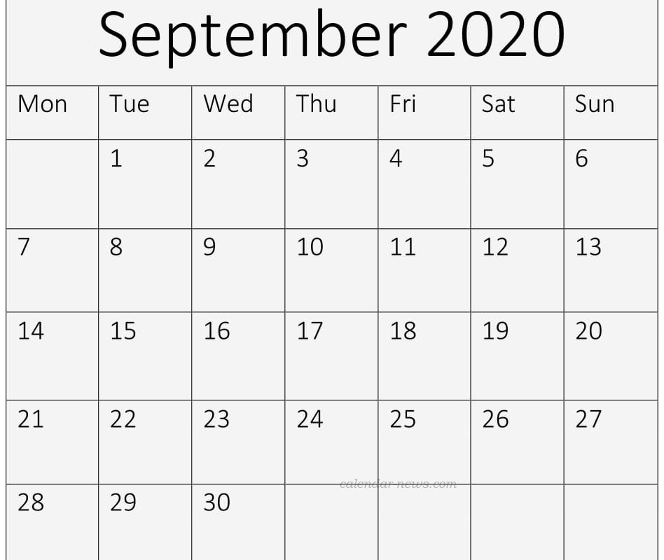 Calendar September 2020 Template