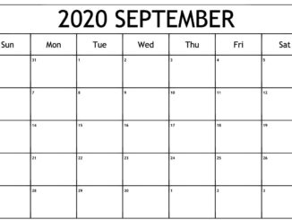 Calendar of September 2020 Template
