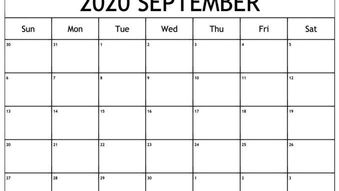 Calendar of September 2020 Template