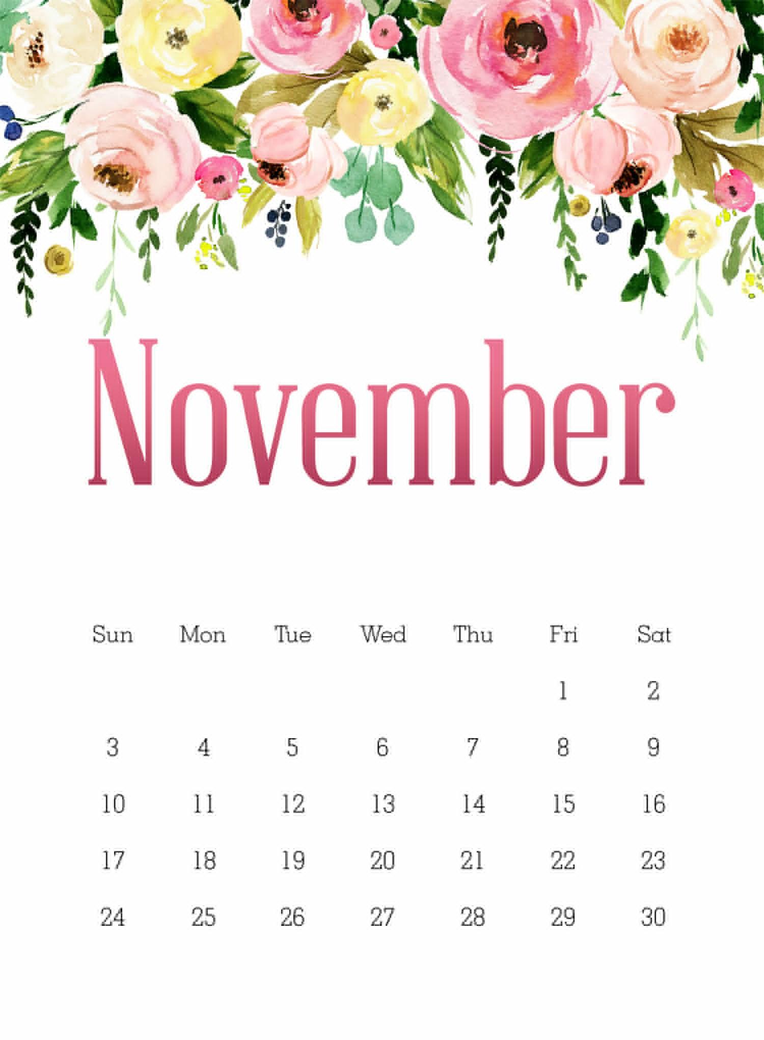 Cute Calendar Of November 2019 PDF