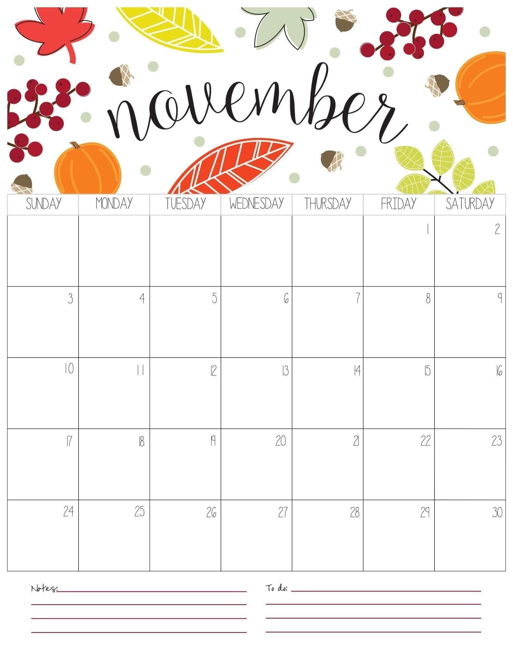 Cute November 2020 Calendar Printable