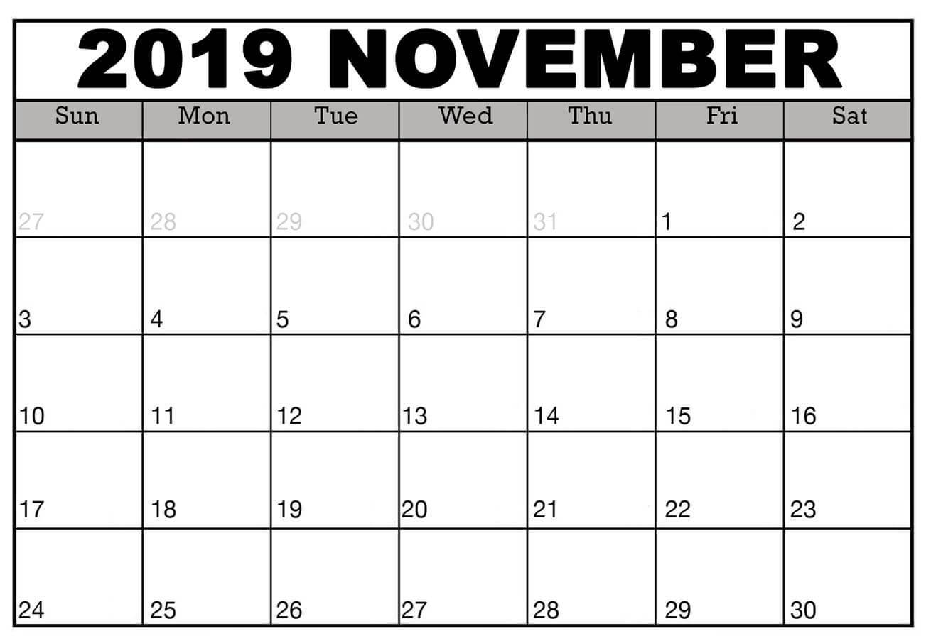 Editable 2019 November Calendar