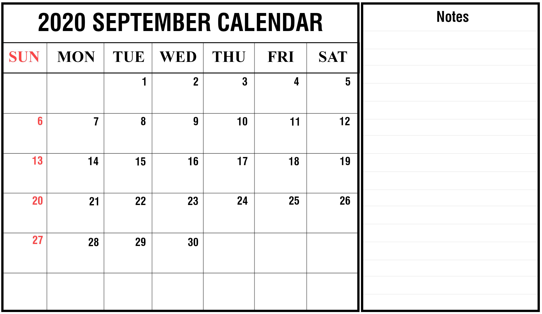 Editable 2020 September Calendar with Notes