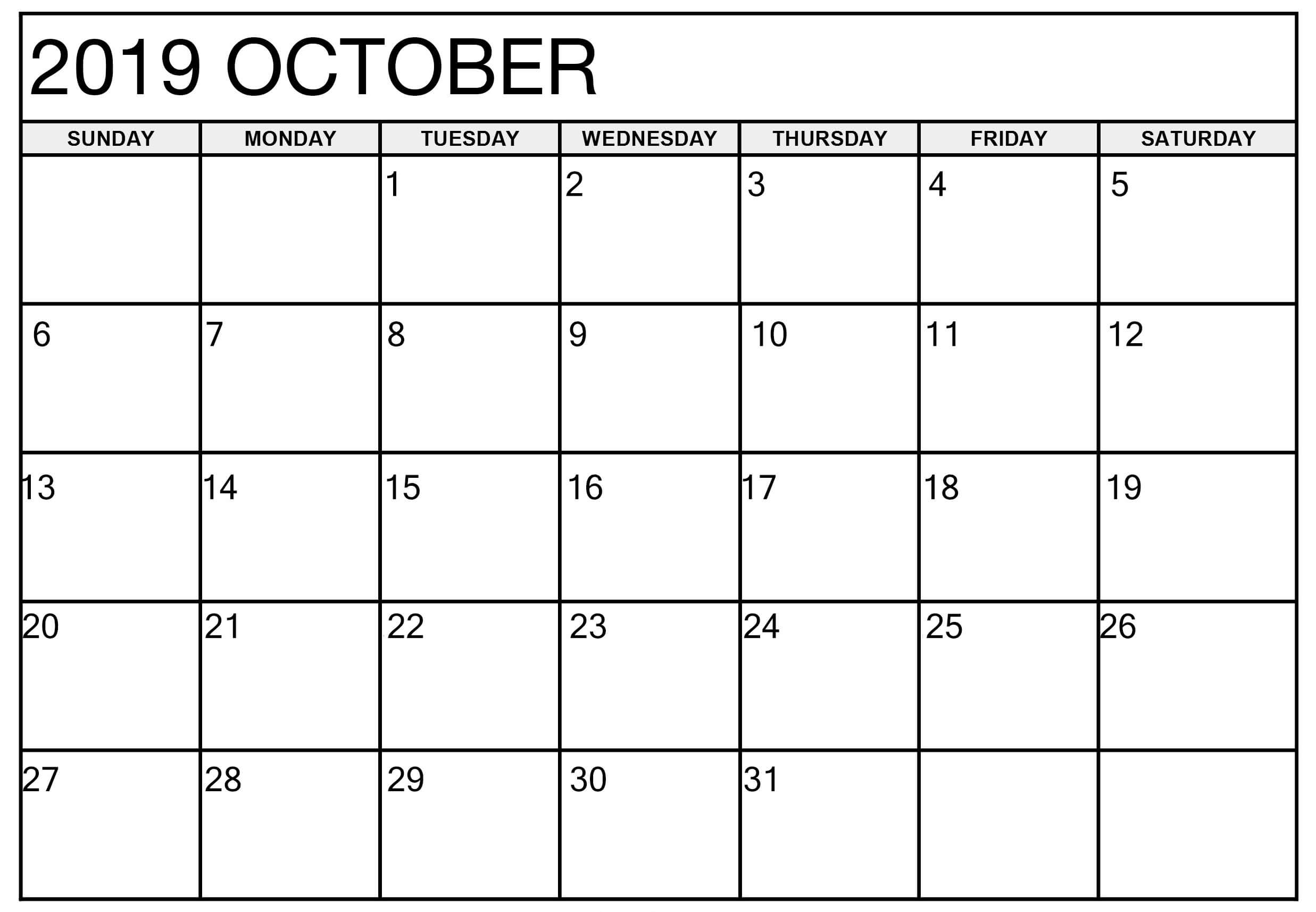 Editable Calendar for October 2019