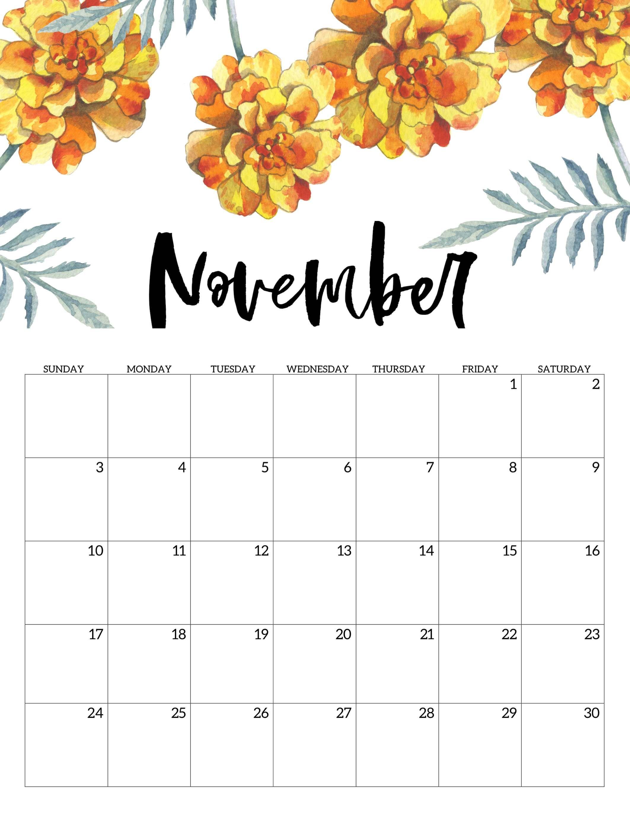 Editable November 2019 Calendar Cute