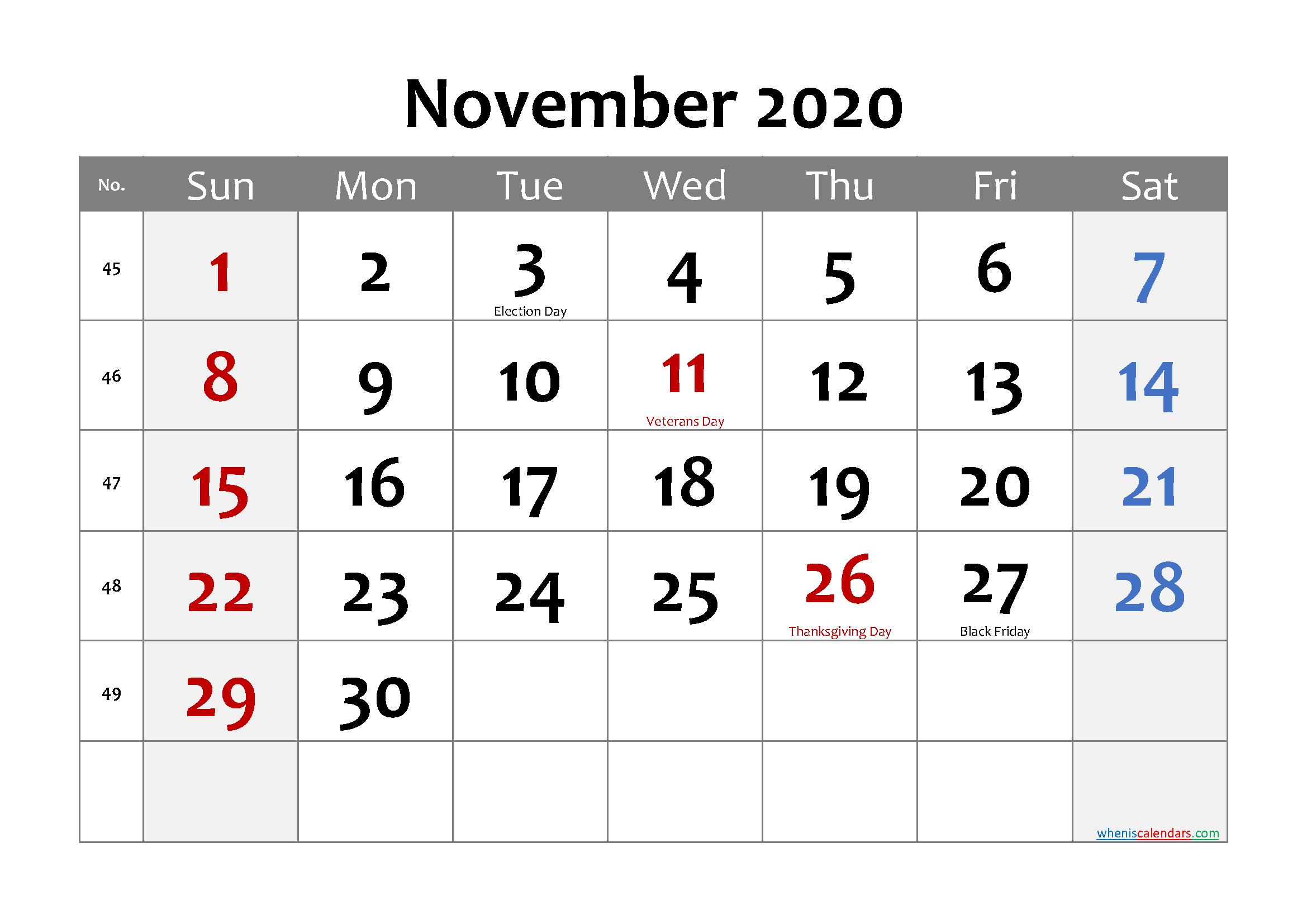 Editable November 2020 Calendar Word