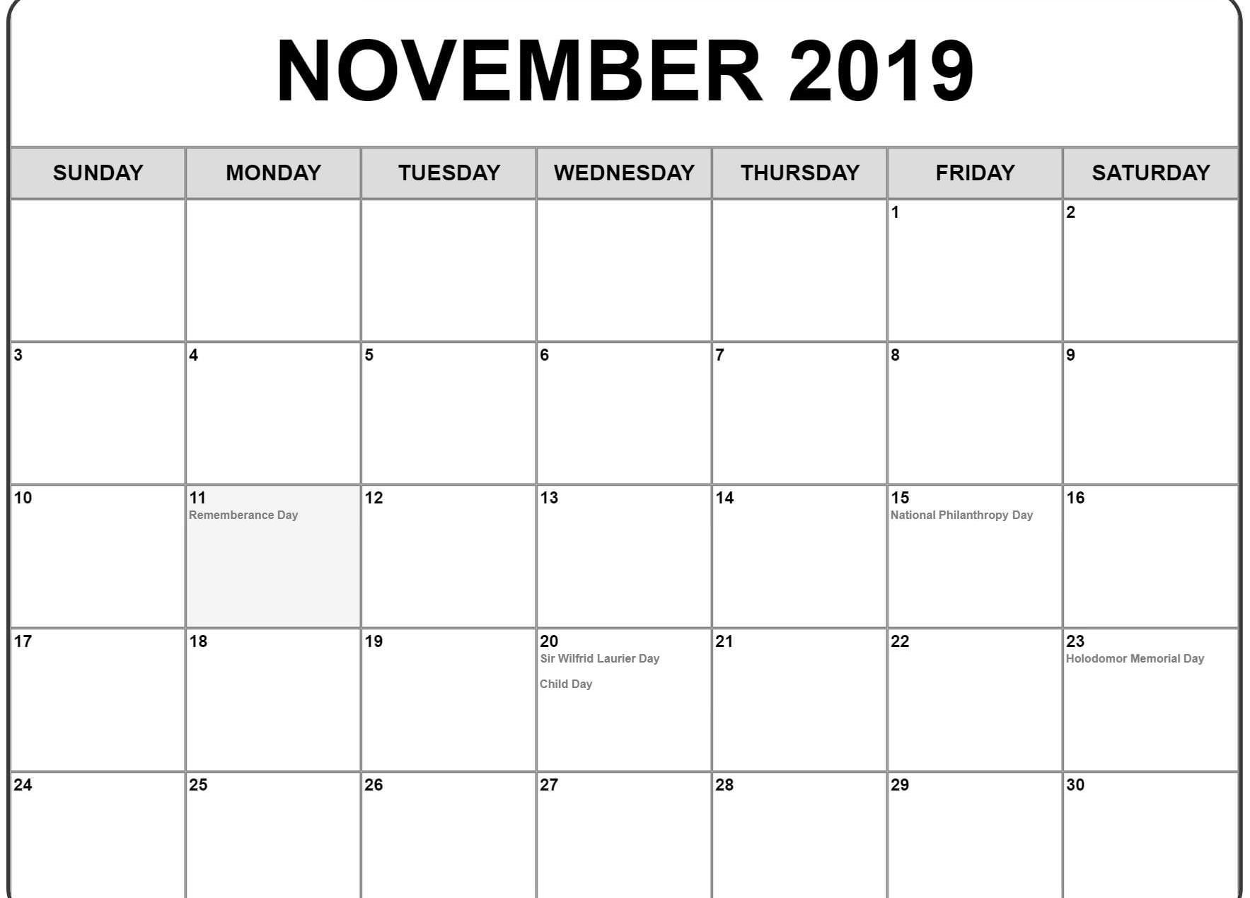 Editable November Calendar 2019