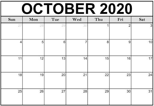 Editable October 2020 Blank Calendar