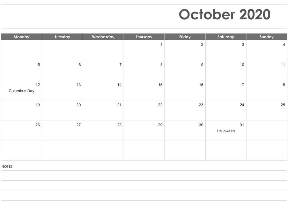 Editable October 2020 Calendar With Notes