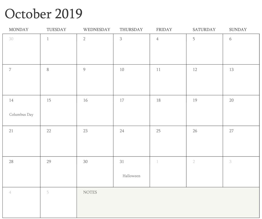 Editable October Calendar 2019 Monthly