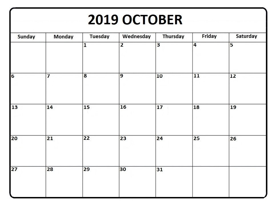Editable Calendar for October 2019 Weekly