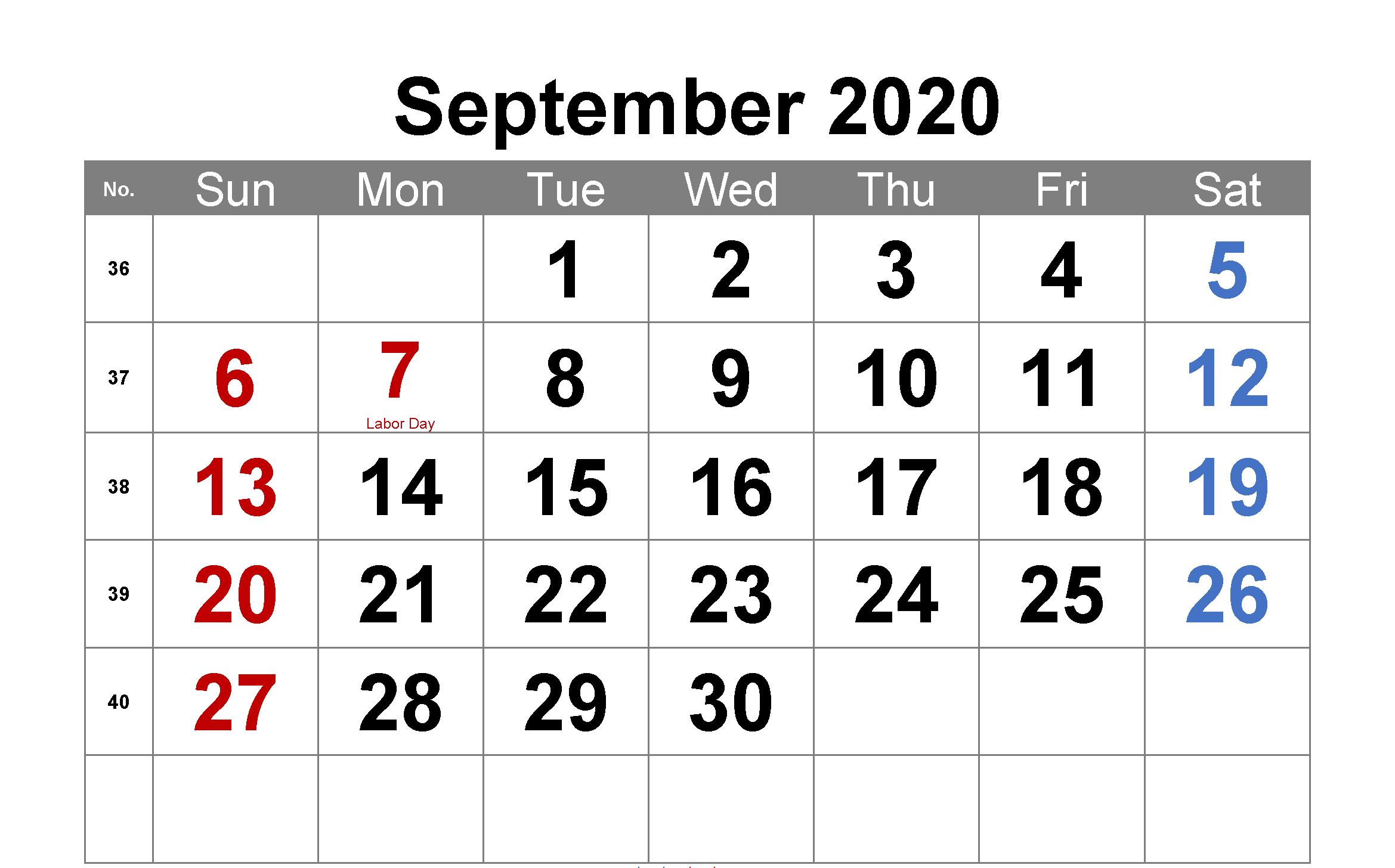 Editable September 2020 Calendar with Holidays