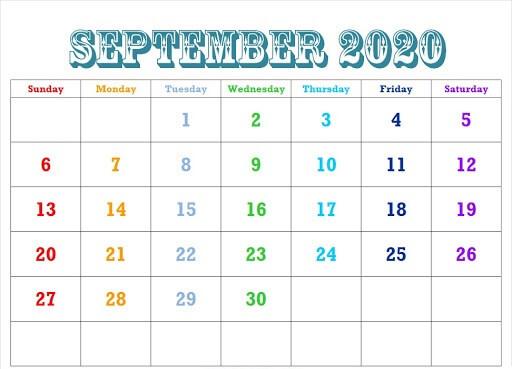 Editable September Calendar 2020 For Kids