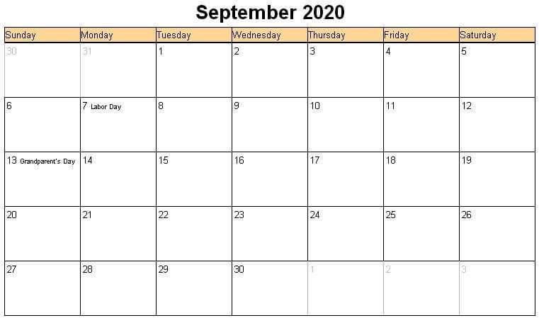 Editable September Calendar 2020 Template