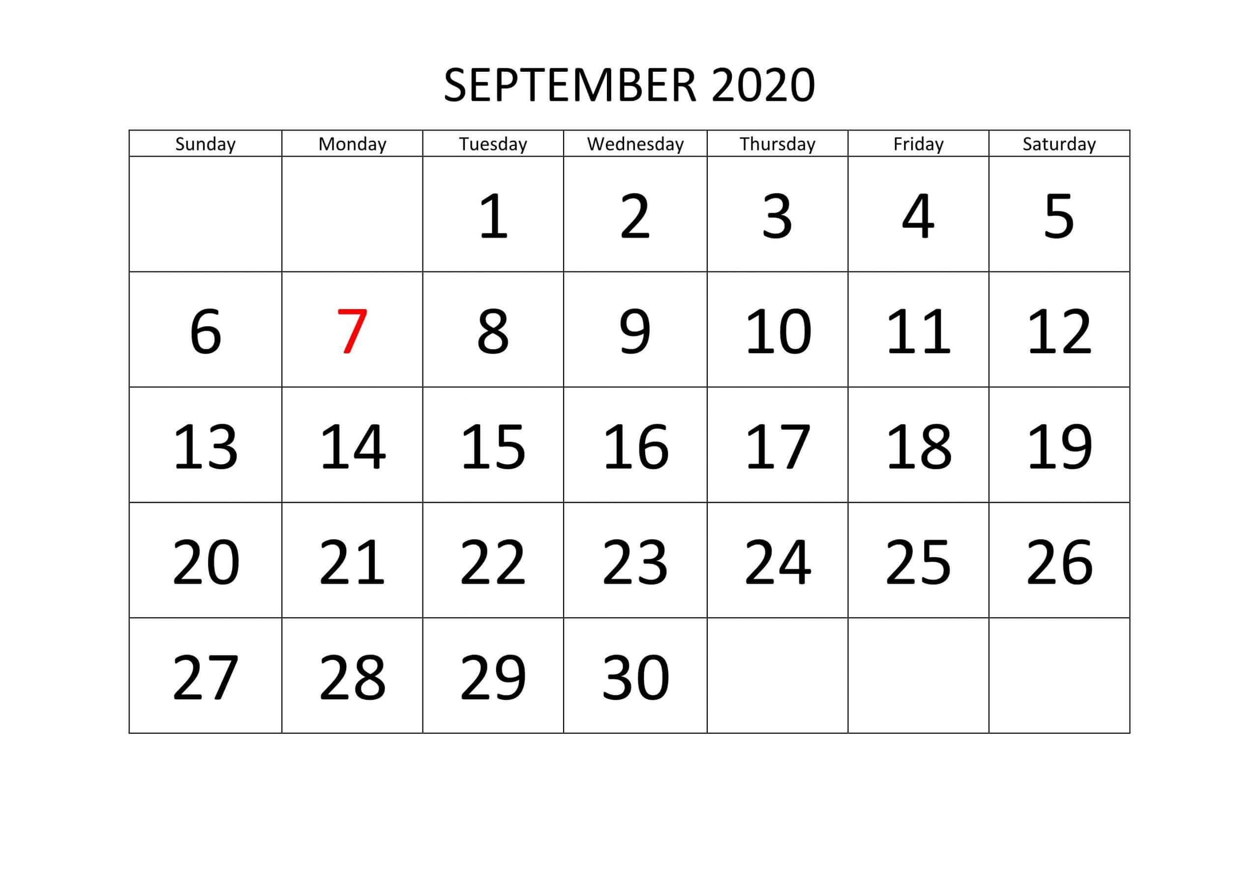 Editable September Calendar 2020 Word