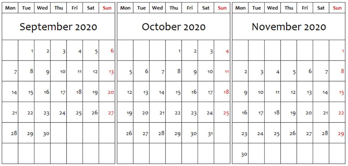 Editable September October November 2020 Calendar