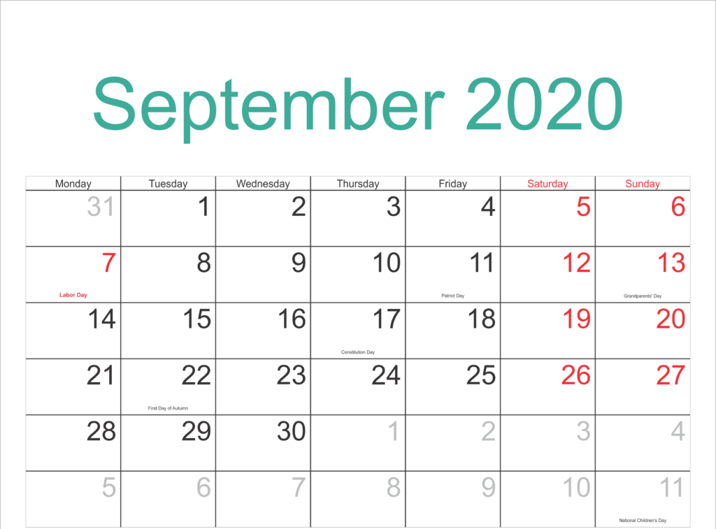 Federal Holidays Calendar September 2020