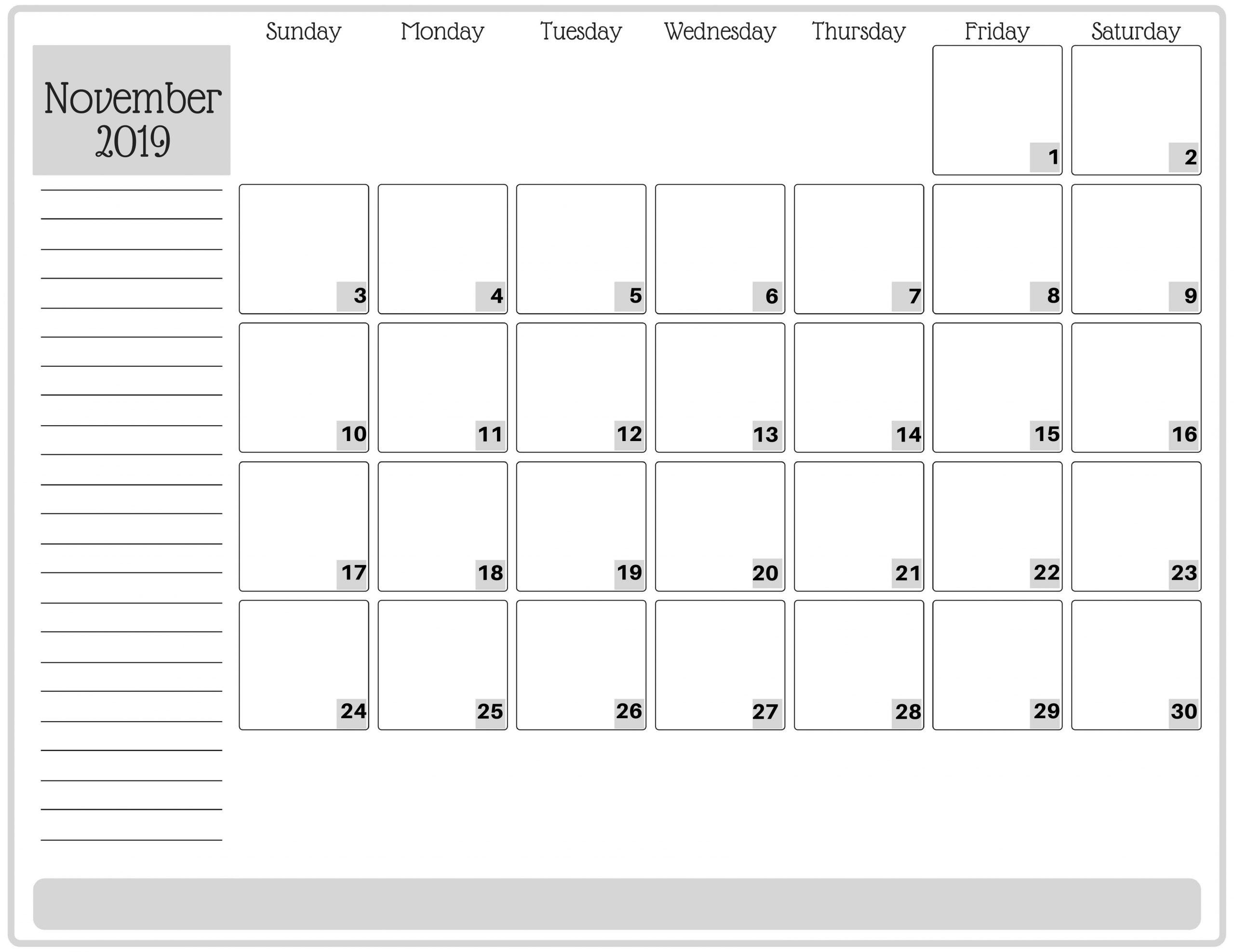 Fillable Calendar November 2019
