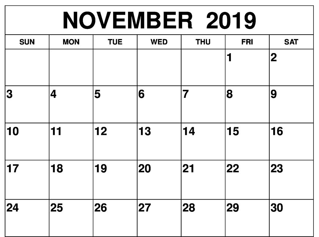 Fillable November 2019 Calendar Template