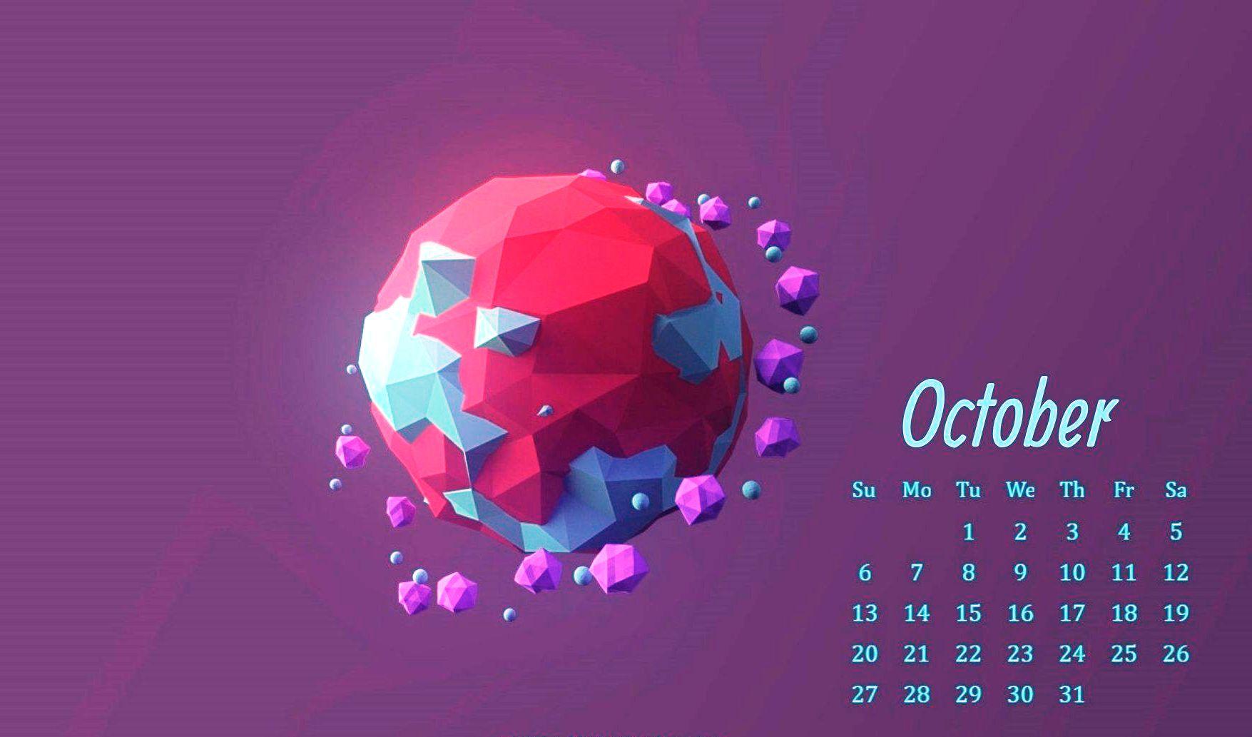 Floral October 2019 Calendar Cute Wallpaper Pink Designs