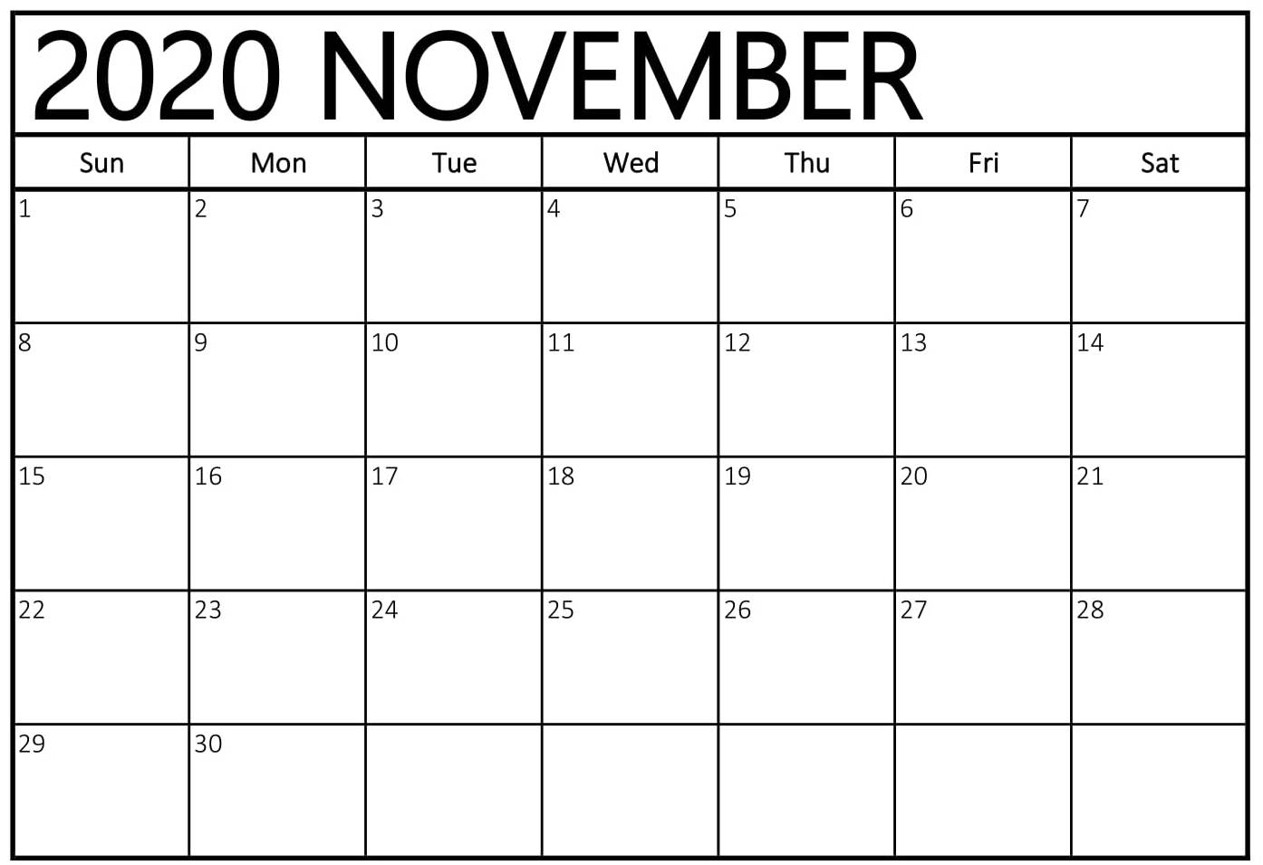 Free November 2020 Editable Blank Calendar