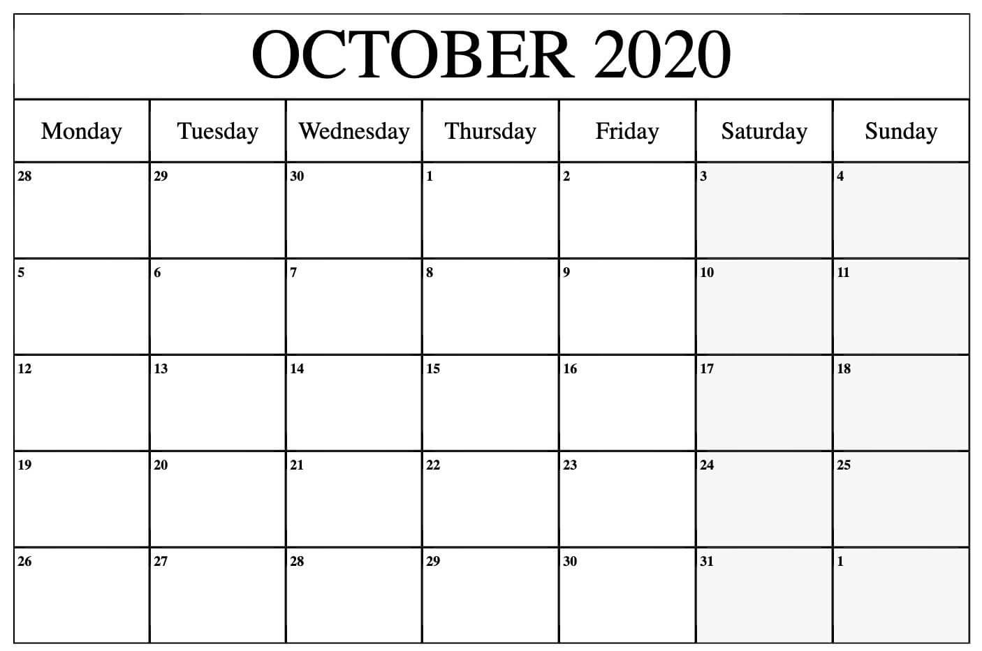 Monthly Blank Calendar October 2020