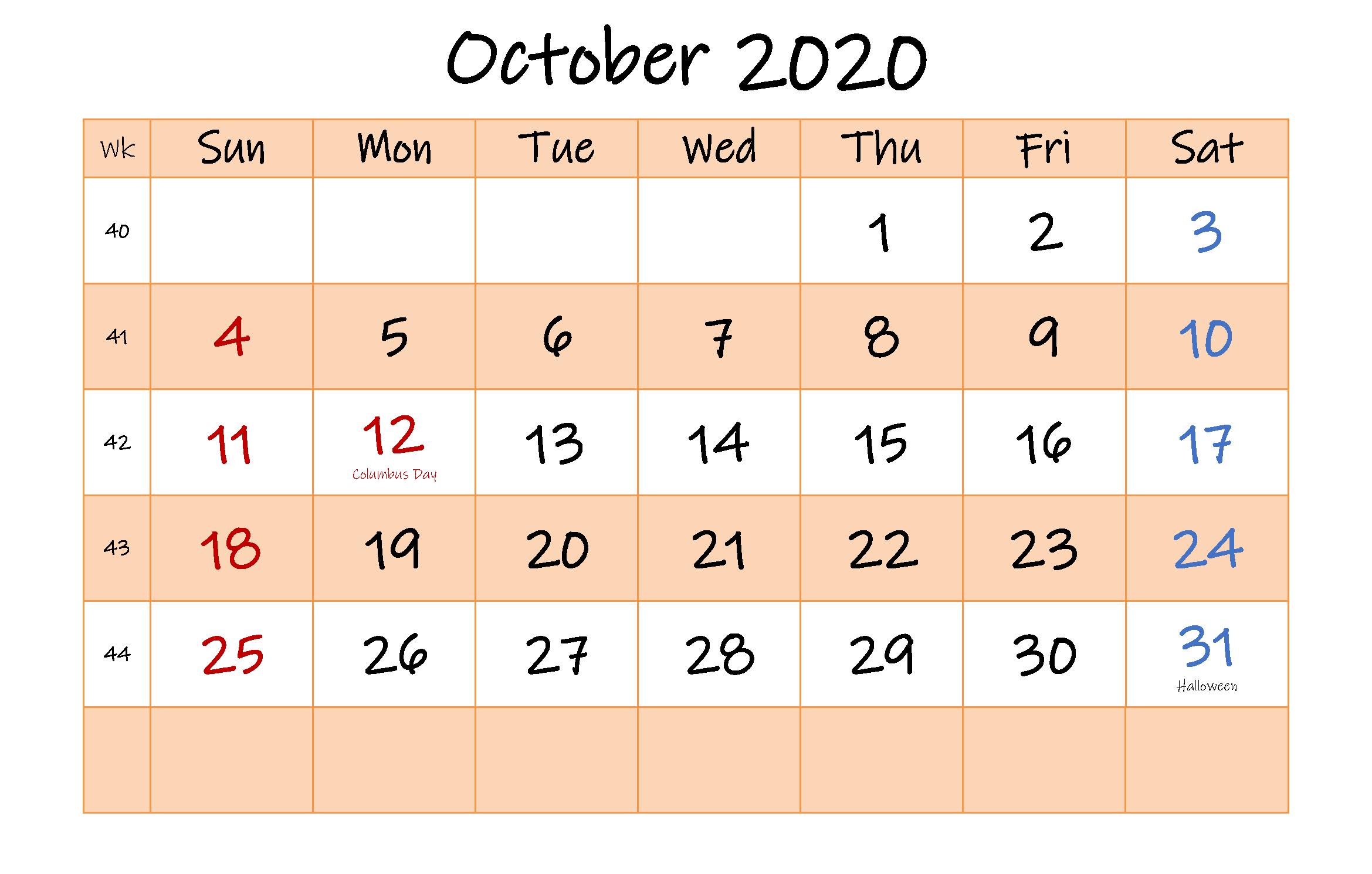 Monthly Calendar Editable Template October 2020