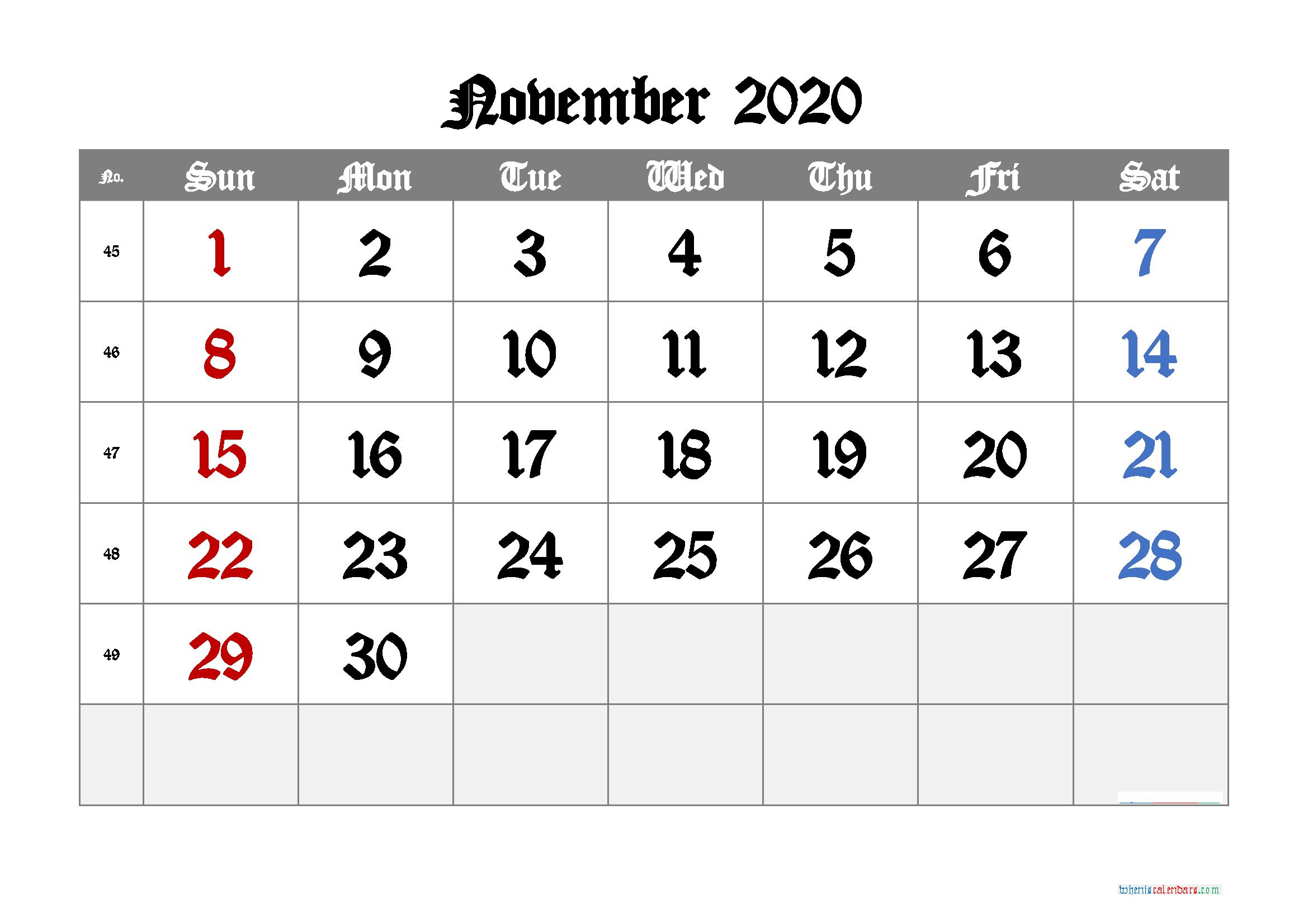 Monthly Calendar For November 2020 month