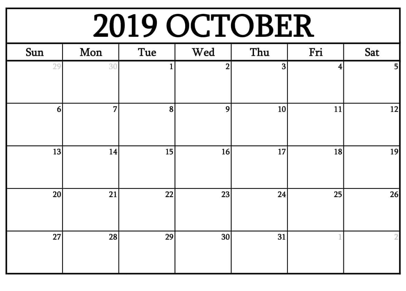 Monthly Calendar For October 2019 Blank Template