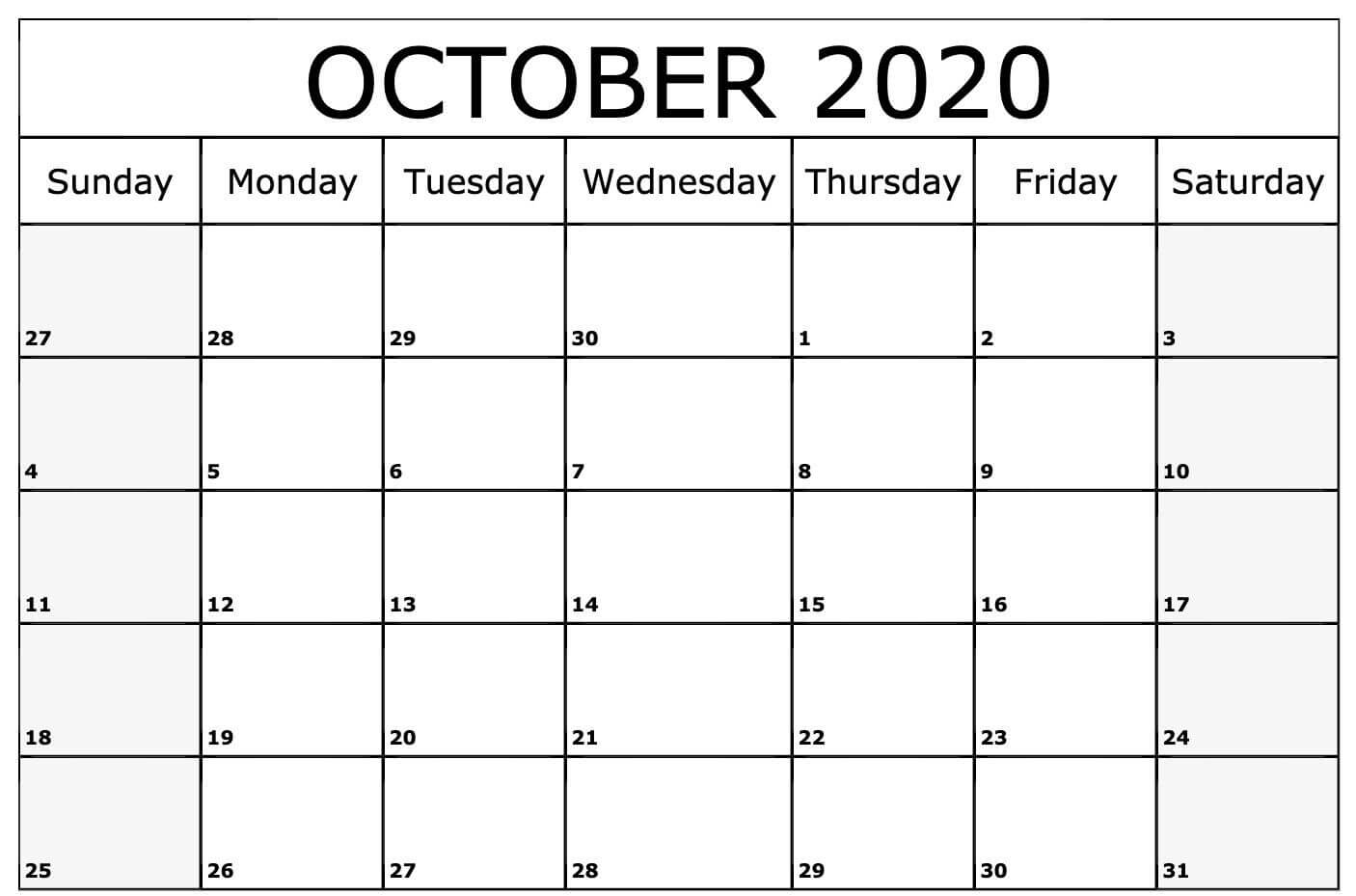 Monthly Editable October Calendar 2020
