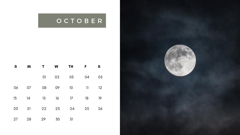Moon Calendar for October 2019 Template