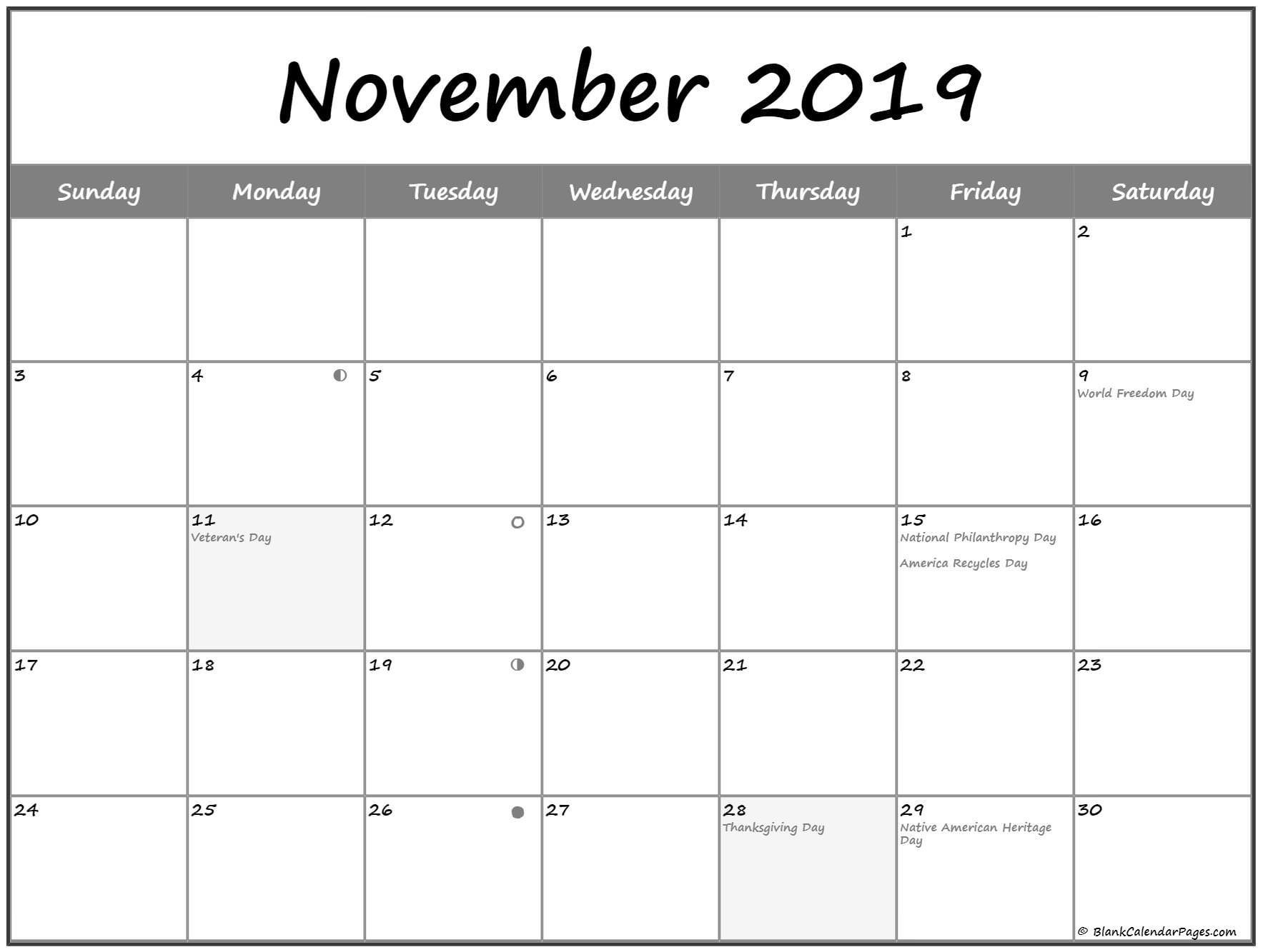 Moon Phases for November 2019 Calendar
