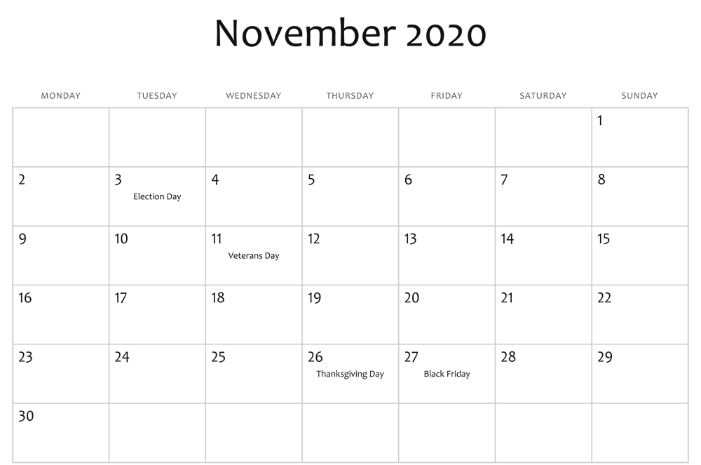 November 2020 Calendar Editable