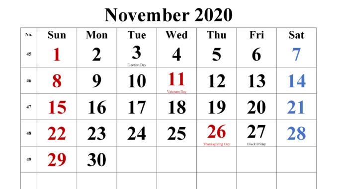 November 2020 Editable Calendar Excel