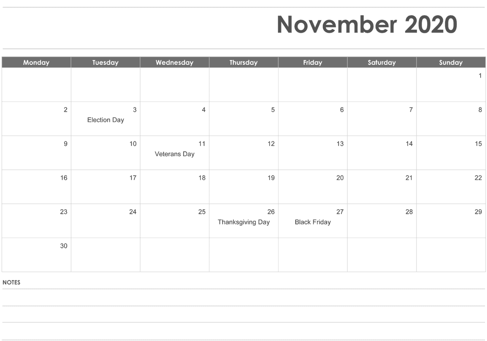 November 2020 Editable Calendar with Notes