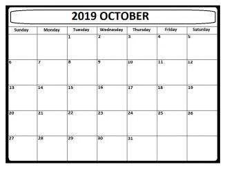 October 2019 Blank Calendar Editable