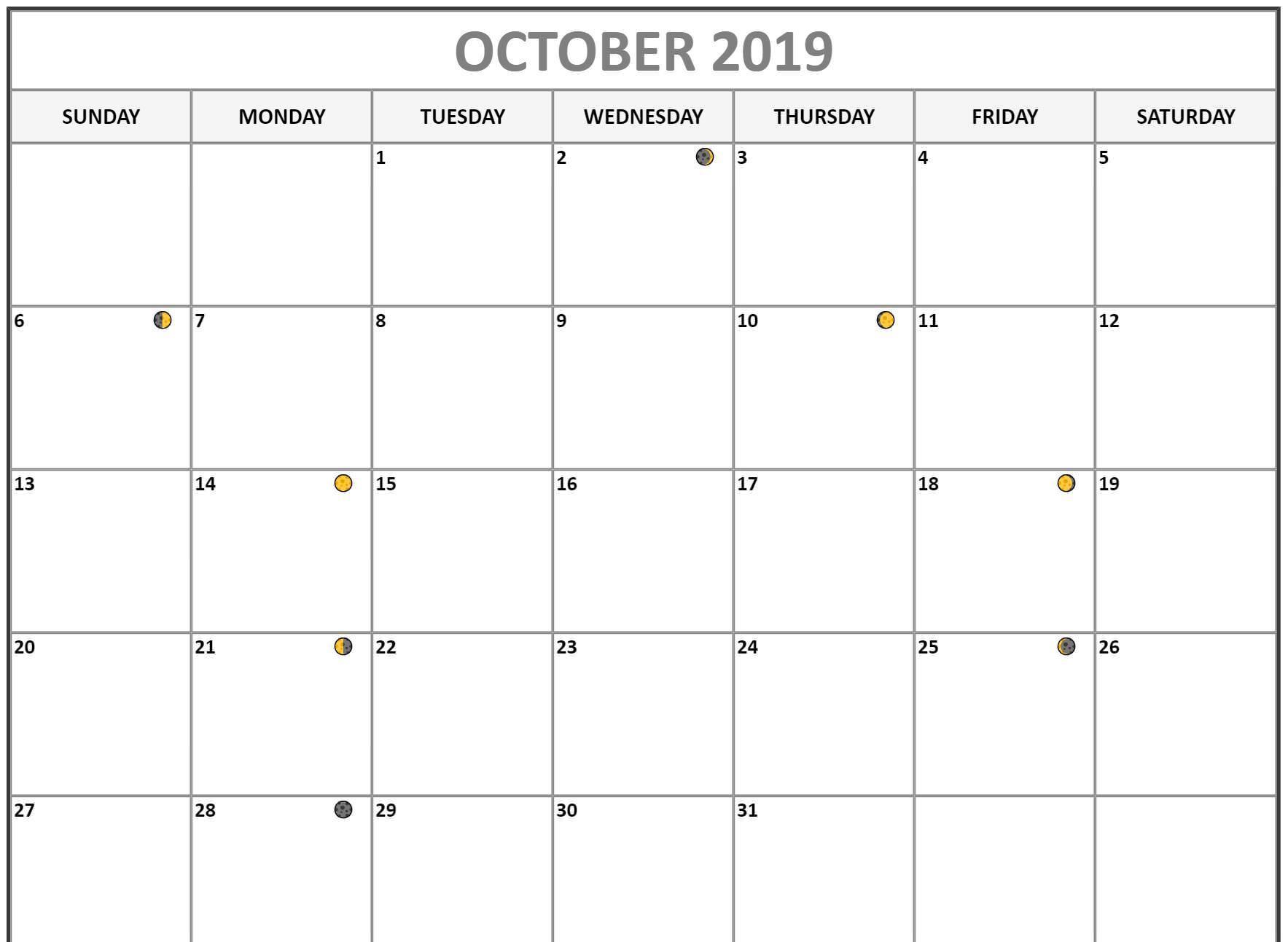 October 2019 Lunar Calendar