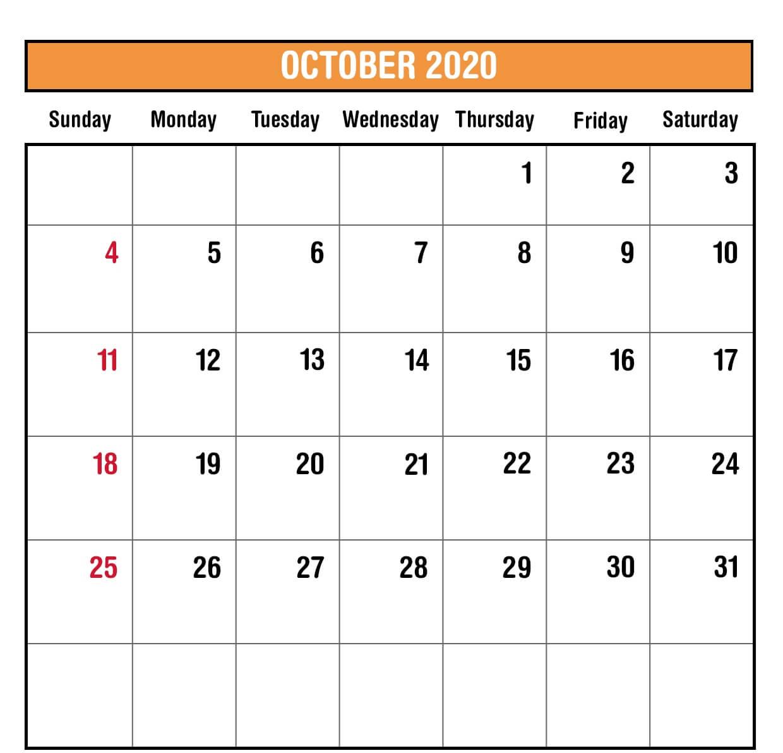 October 2020 Blank Calendar PDF