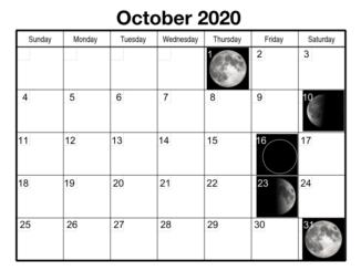 October 2020 Lunar Calendar