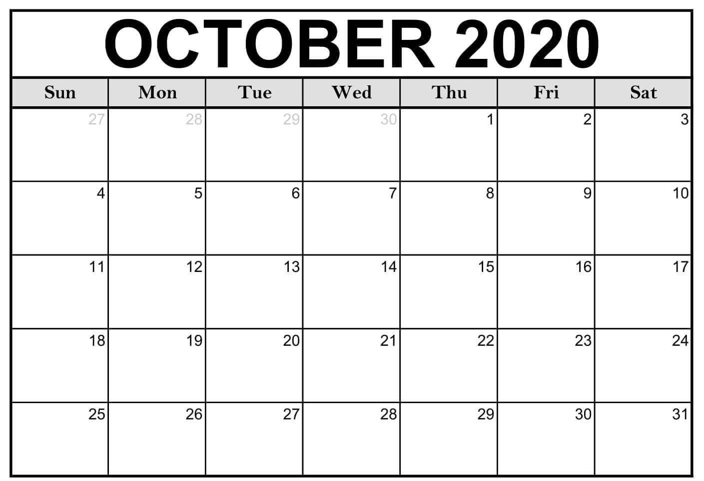 October 2020 Printable Blank Calendar