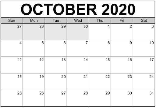 October Blank Calendar 2020