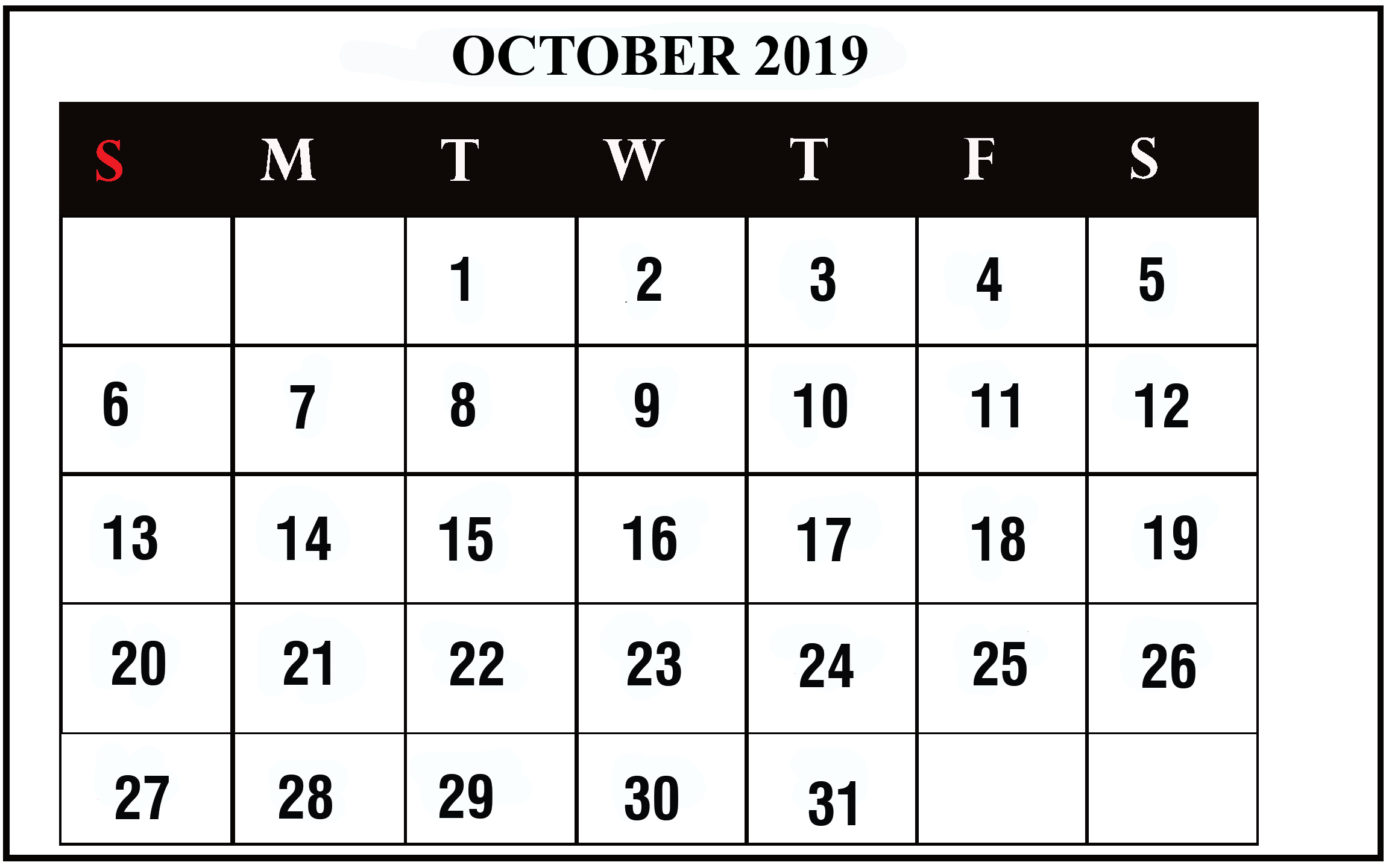 October Calendar 2019 Editable Template to Print