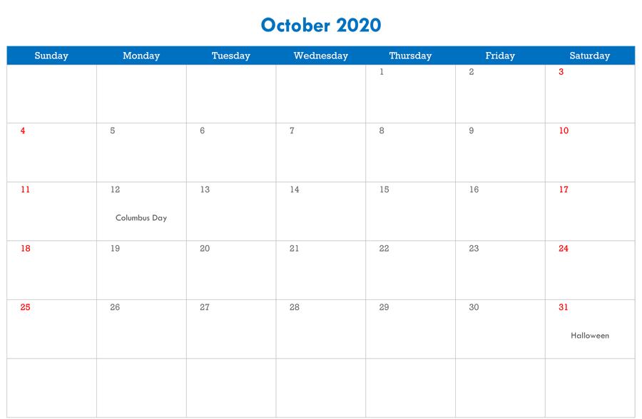 October Editable Calendar 2020